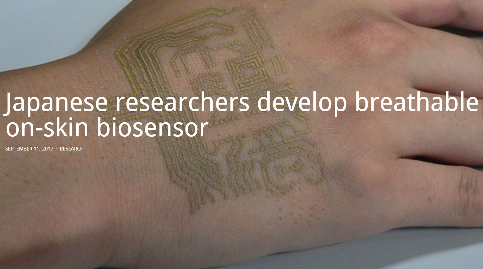 Japanese researchers develop breathable on-skin biosensor